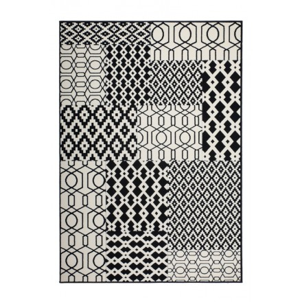 Graphic rug rectangular NAXOS woven machine (black ivory)