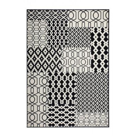 Tapis graphique NAXOS rectangulaire tissé à la machine (Noir Ivoire)