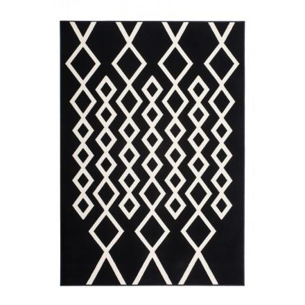 Grafischen Teppich rechteckigen PIAZZA gewebt Maschine (Schwarz Elfenbein)
