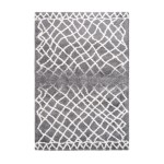 Grafischen Teppich rechteckig AVOLA gewebt Maschine (grau)