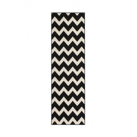 Graphic rug rectangular LICATA woven machine (80x250cm) (black ivory)