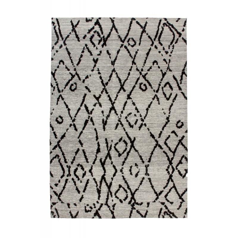 Tapis rétro fait main HOUSTON rectangulaire fait main (Gris  Noir) - image 41760
