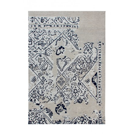 Retro rug is hand made rectangular SACRAMENTO hand (gray, black)