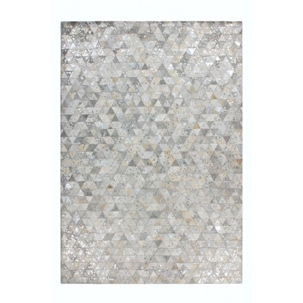 Carpet 100% leather is hand made rectangular TUCSON hand (grey Beige)