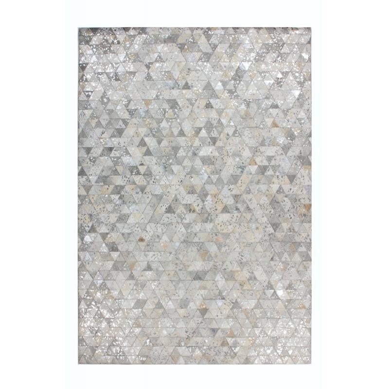 Tapis 100% cuir fait main TUCSON rectangulaire fait main (Gris  Beige) - image 41784