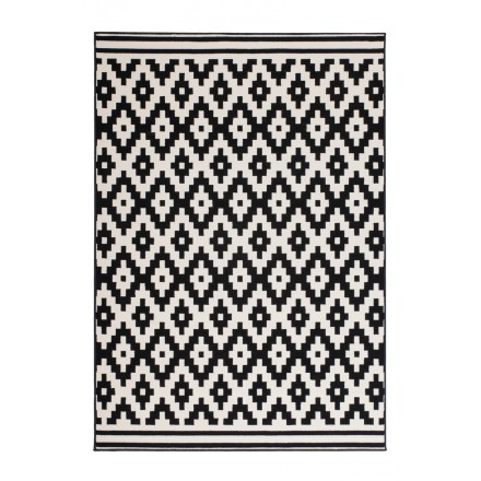 Rectangular TULSA graphic rugs woven by machine (black white)
