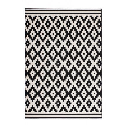 Tapis graphique TULSA rectangulaire tissé à la machine (Noir  Blanc)