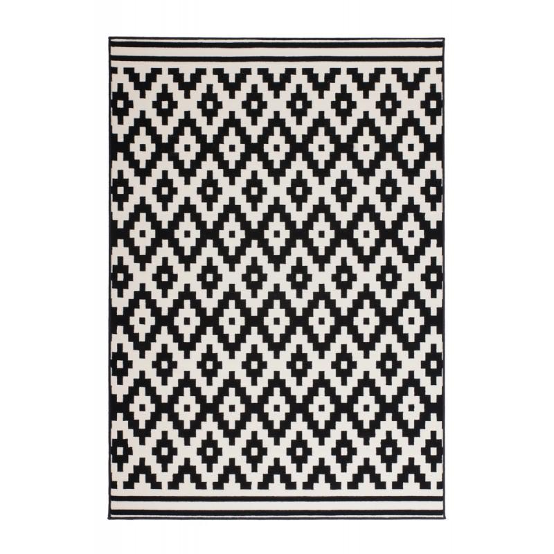 Tapis graphique TULSA rectangulaire tissé à la machine (Noir  Blanc) - image 41788