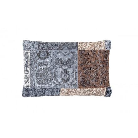 Vintage Sinfonía rectangular patchwork cojín hecho a mano (azul marrón)