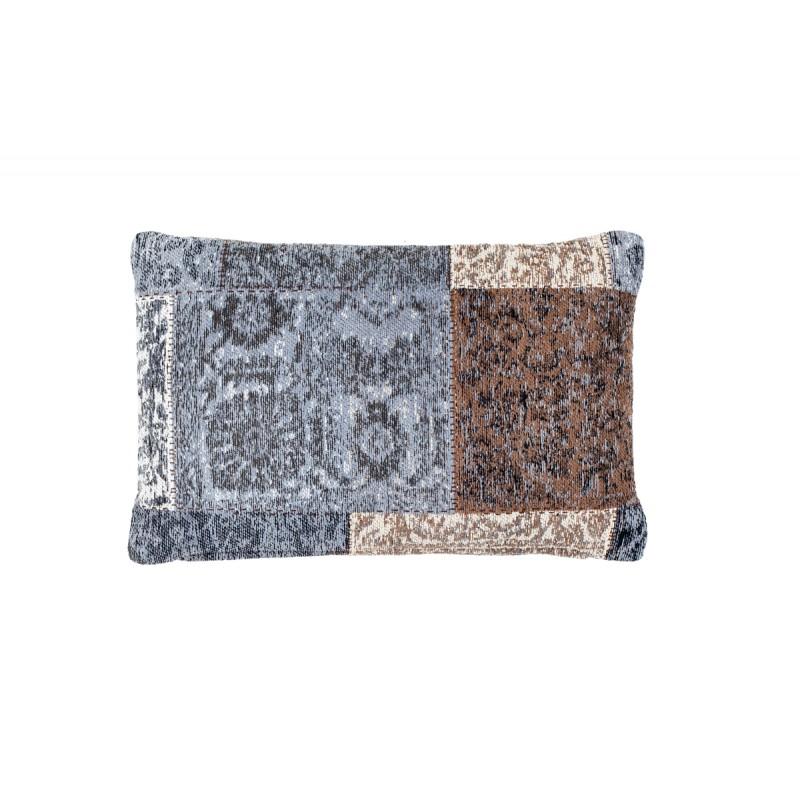 Coussin patchwork vintage SYMPHONIE rectangulaire fait main (Bleu Marron)