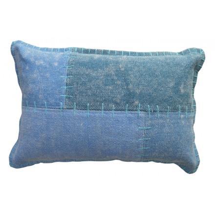 LYRISCHE Weinlese rechteckig-Patchwork Kissen handgemacht (blau)