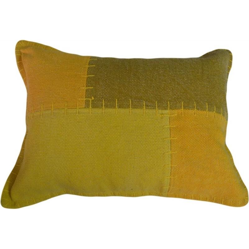 Coussin patchwork vintage LYRICAL rectangulaire fait main (Jaune vert) - image 41809