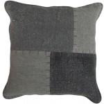 Coussin patchwork vintage LYRICAL Carré fait main (Gris)