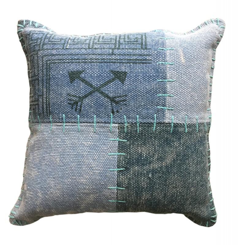Coussin patchwork vintage FINCA rectangulaire fait main (Bleu vert) - image 41816