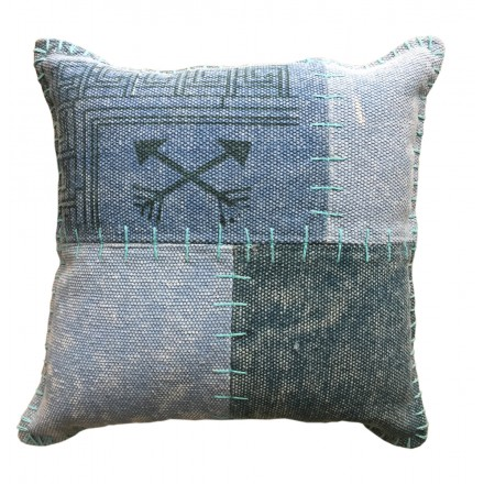 Vintage FINCA square patchwork cushion handmade (green blue)
