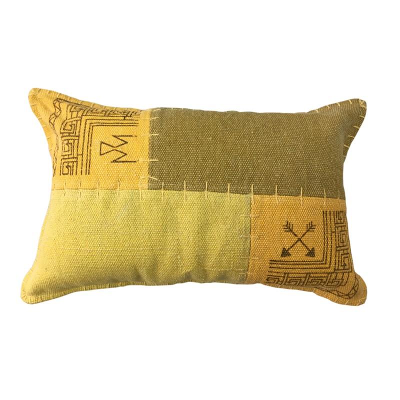Coussin patchwork vintage FINCA rectangulaire fait main (Jaune vert) - image 41820