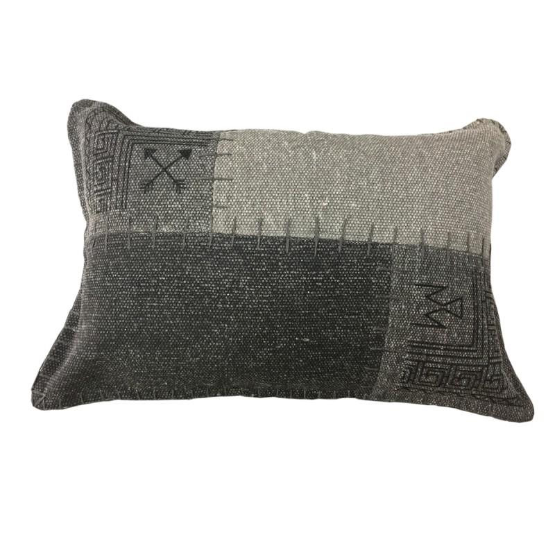 Coussin patchwork vintage FINCA rectangulaire fait main (Gris anthracite) - image 41821