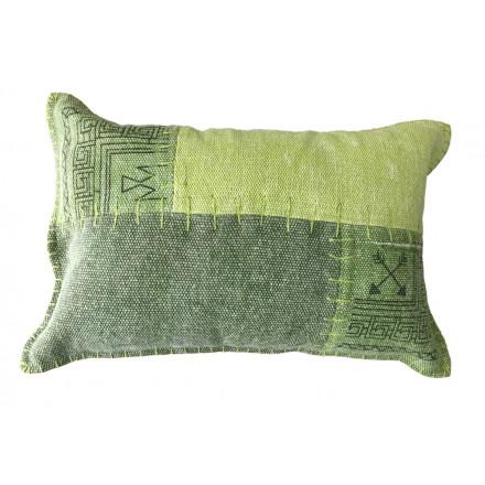 Vintage FINCA rectangular patchwork cojín hecho a mano (verde)