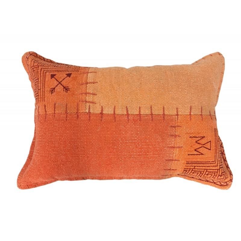 Coussin patchwork vintage FINCA rectangulaire fait main (Orange) - image 41823