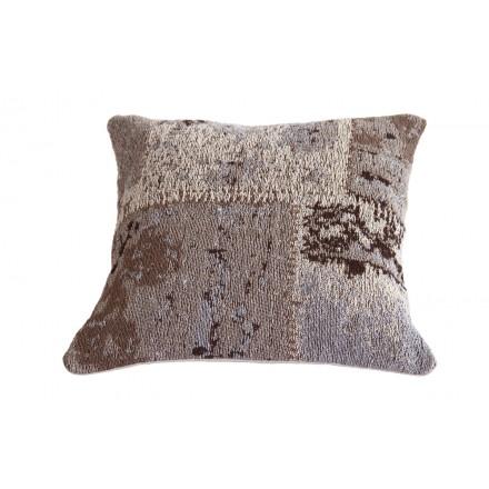 Boemia matrice quadrata cuscino fatto a mano (Beige marrone)