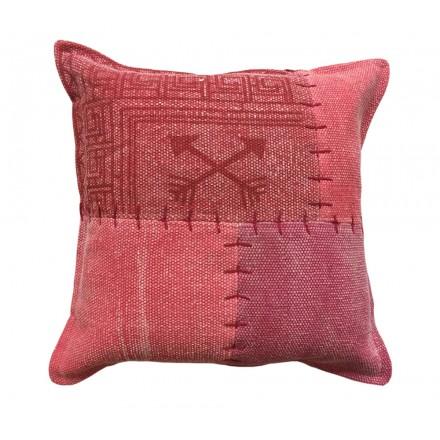 Vintage FINCA rectangular patchwork cojín hecho a mano (rojo)