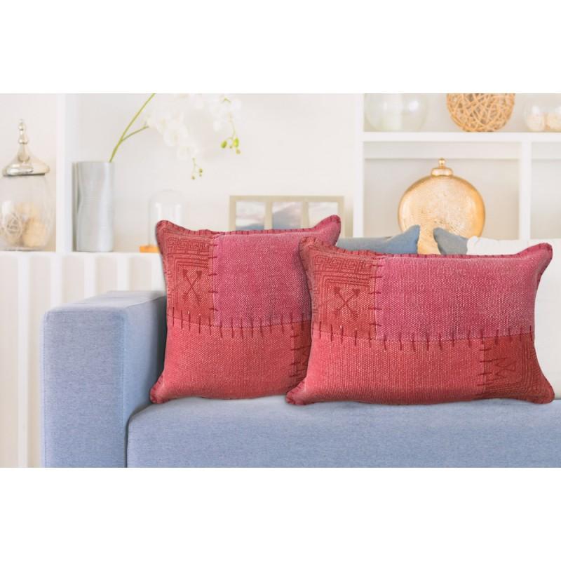 Coussin patchwork vintage FINCA rectangulaire fait main (Rouge) - image 41916