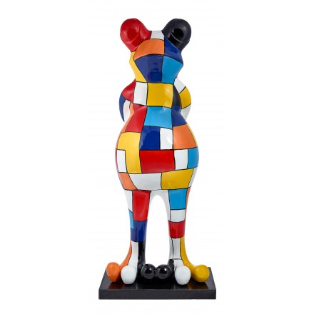 Frog CHECKERBOARD design decorative sculpture statue in resin H150 (multicolor)