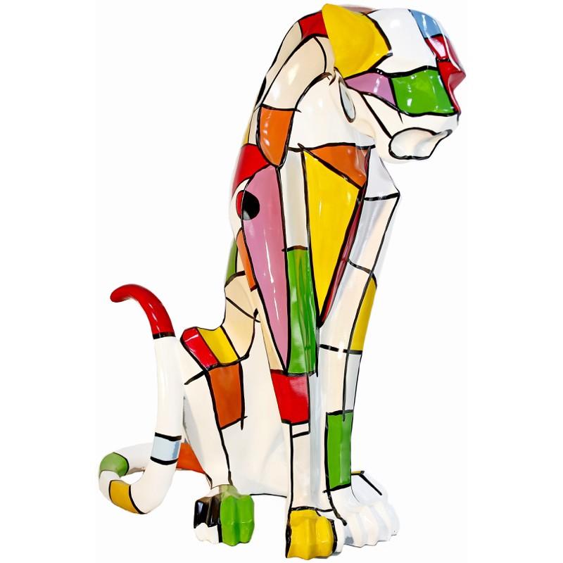 Statue sculpture décorative design PANTHERE en résine H100 cm (Multicolore) - image 41952