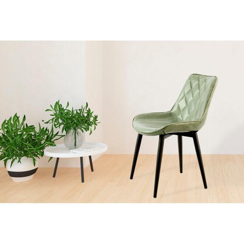 Lot de 2 chaises rétro matelassées EUGENIE (Vert) - image 42012