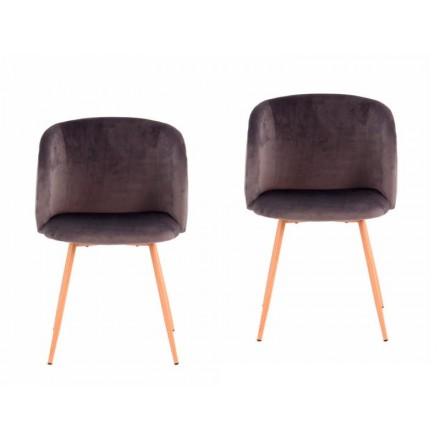 Conjunto de 2 sillas en terciopelo escandinavo LISY (gris)