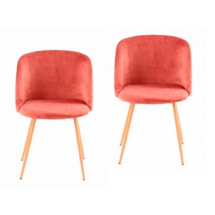 Lot de 2 chaises en velours scandinave LISY (Rose)