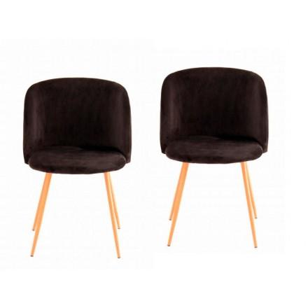 Conjunto de 2 sillas en terciopelo escandinavo LISY (negro)