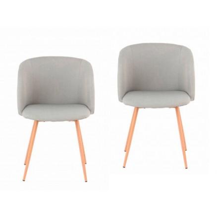 Conjunto de 2 sillas en tela PAOLA escandinavo (gris claro)
