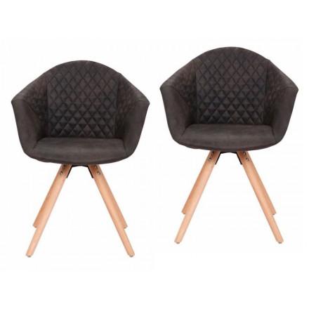 Conjunto de 2 sillas acojinadas MADISON escandinavo (negro)