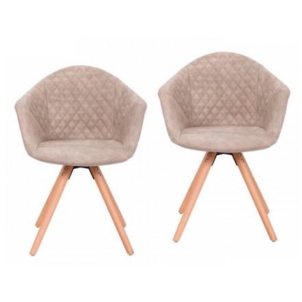 Juego de 2 acolchados sillas a escandinavas MADISON (marrón claro)