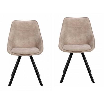 Conjunto de 2 sillas en tela LAURINE escandinavo (topo)