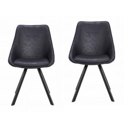 Lot de 2 chaises en tissu scandinave LAURINE (Noir)