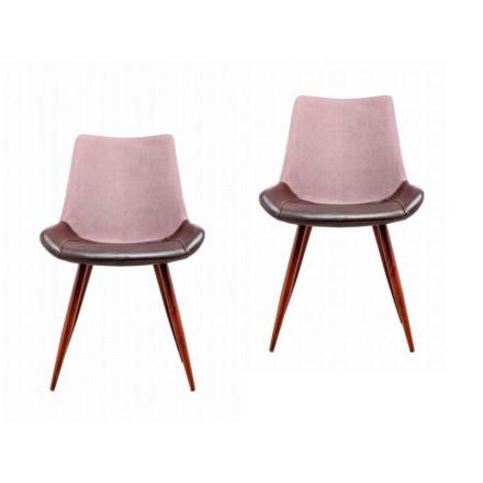 Lot de 2 chaises vintage NELLY (Violet marron foncé)