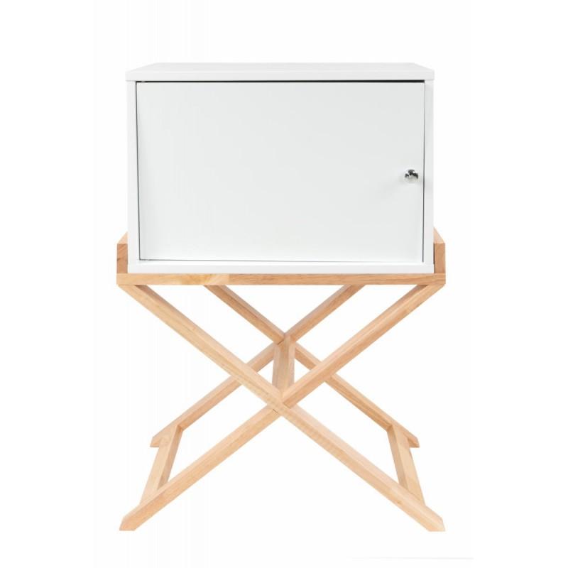 Storage cabinet night table 1 door Scandinavian MAITHE (white, natural) - image 42250