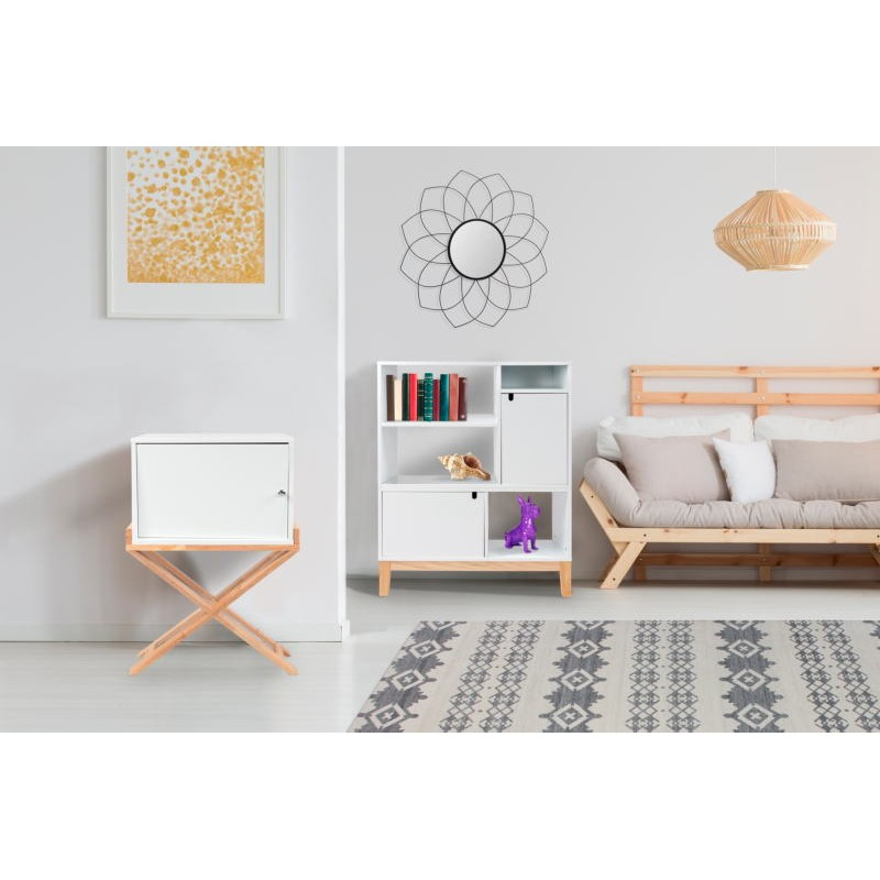 Storage cabinet night table 1 door Scandinavian MAITHE (white, natural) - image 42252