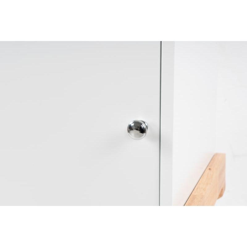 Storage cabinet night table 1 door Scandinavian MAITHE (white, natural) - image 42253
