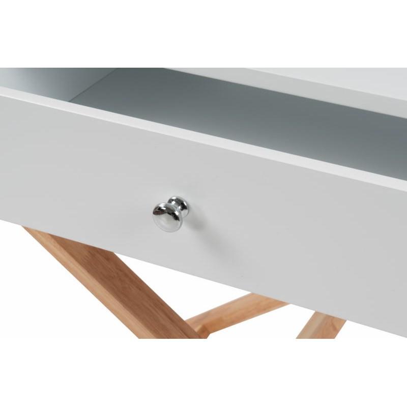 Meuble de rangement table nuit 1 tiroir scandinave MAITHE (Blanc, Naturel) - image 42263