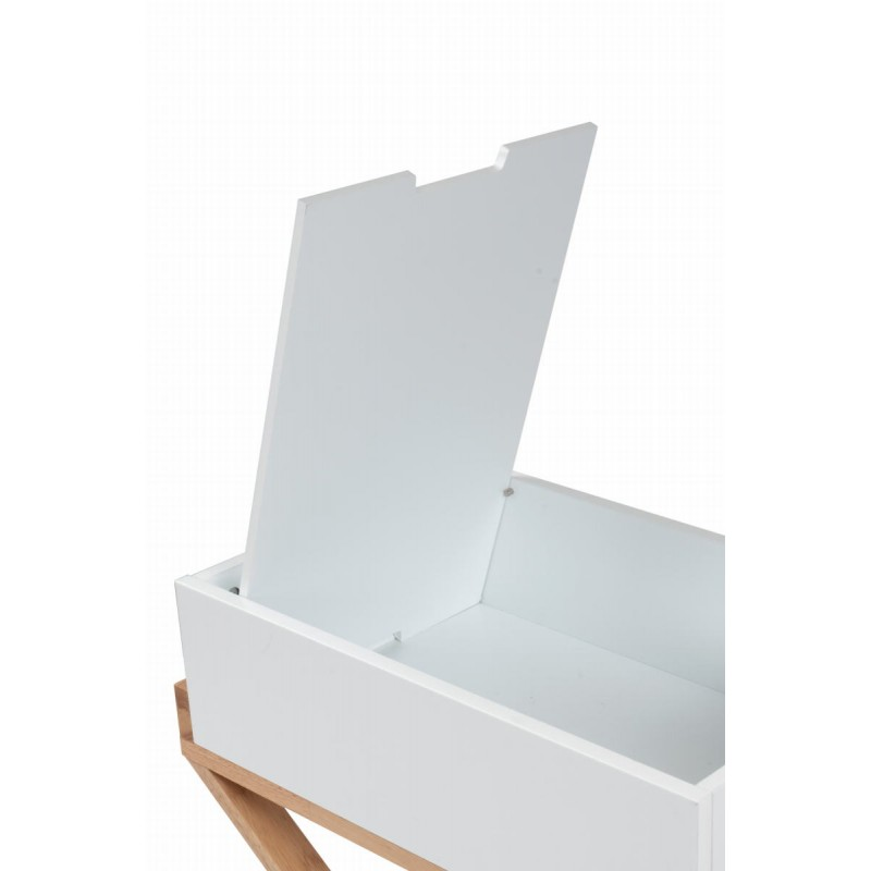 Meuble de rangement table de nuit scandinave MAITHE (Blanc, Naturel) - image 42267