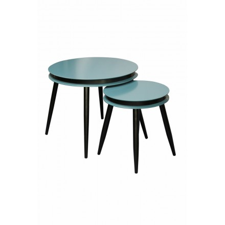 Pull-out tables ROSINE in MDF and poplar wood (blue)