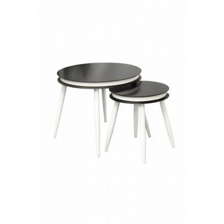 Pull-out tables ROSINE in MDF and poplar wood (black)