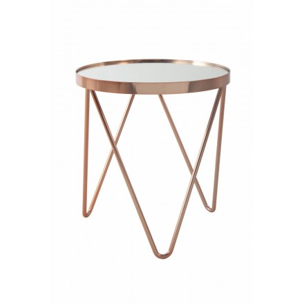 End table, end table MARILOU in glass and metal (Pink)