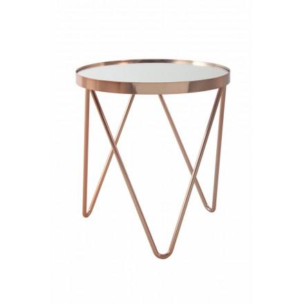 Table d'appoint, bout de canapé MARILOU en verre et métal (Rose)