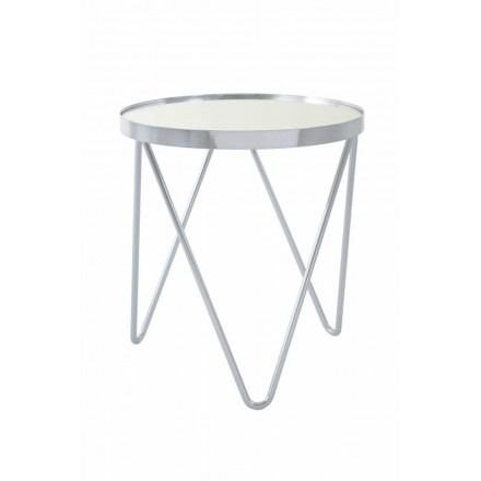 End table, end table MARILOU in glass and metal (Silver)