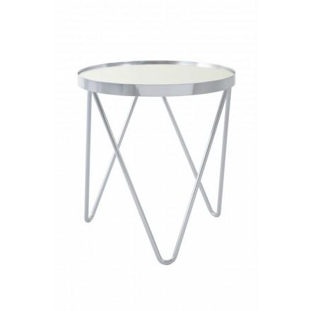 Fine tabella, tabella di estremità MARILOU in vetro e metallo (argento)