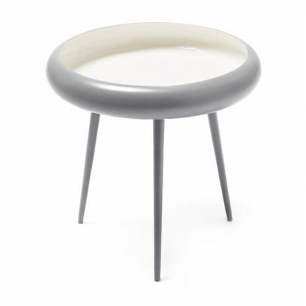 Table d'appoint, bout de canapé FAUSTINE en métal et aluminium (Gris, Blanc)